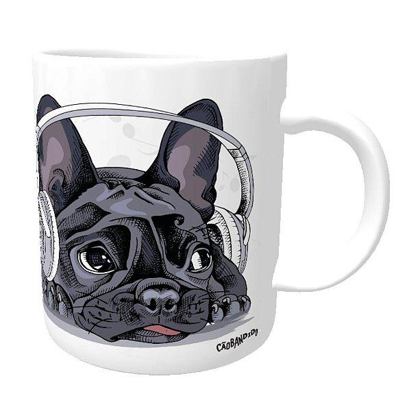 Caneca Bulldog Francês Ouvindo Música