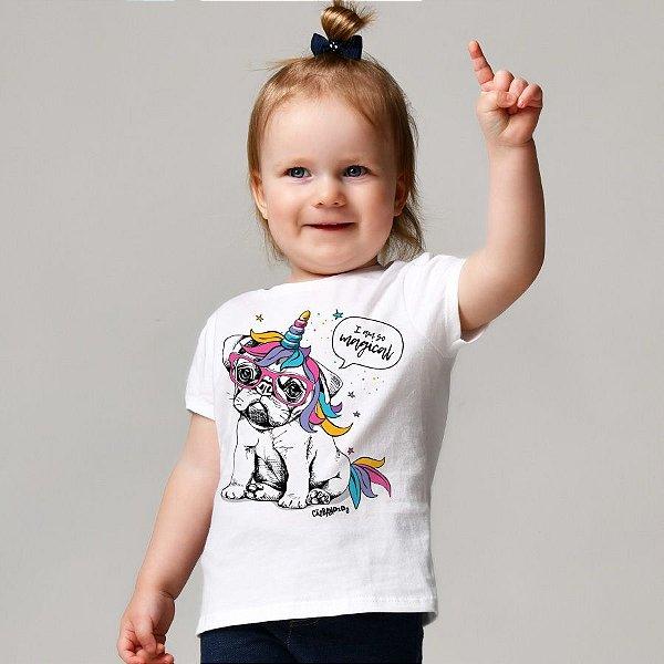 Camiseta Infantil Bulldog Francês Unicórnio - I am So Magical