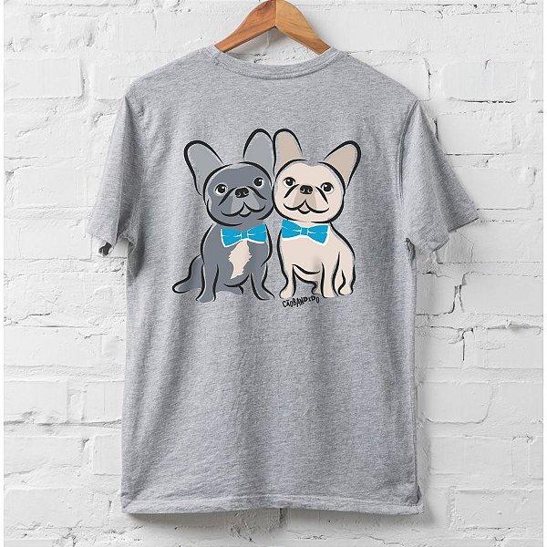 Camiseta Bulldog Francês Casal de Gravatinha
