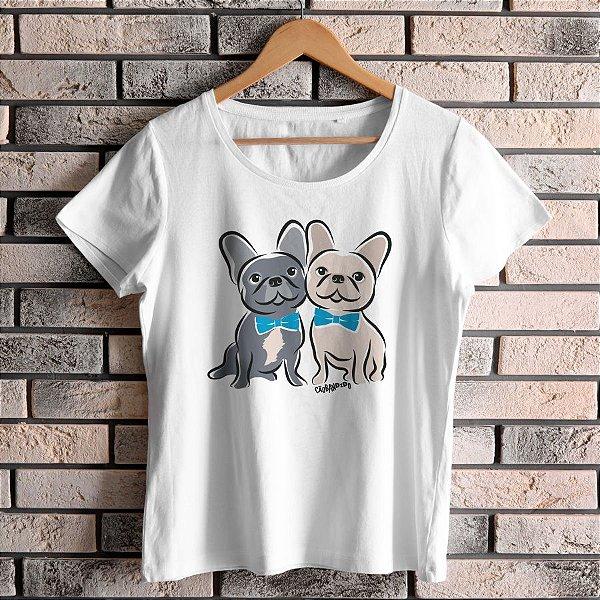 Camiseta Baby Look Bulldog Francês Casal de Gravatinha