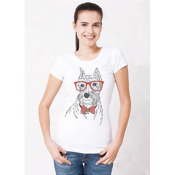 Camiseta Baby Look Schnauzer de Óculos e Gravatinha