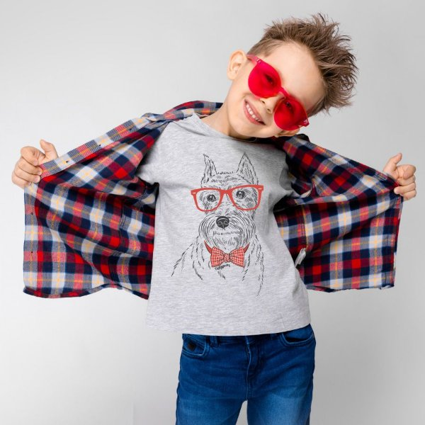 Camiseta Infantil Schnauzer de Óculos e Gravatinha