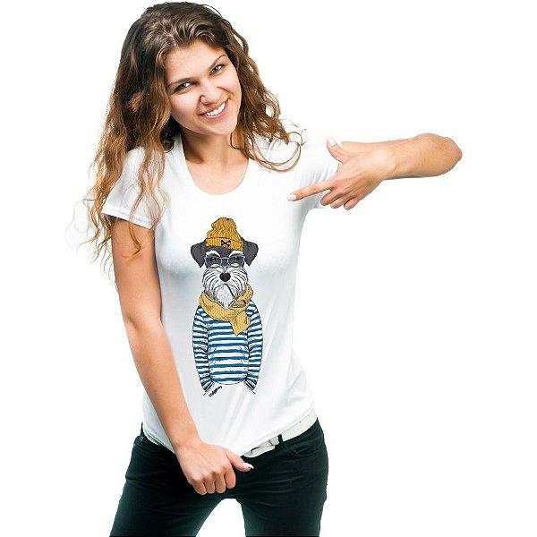 Camiseta Baby Look Schnauzer Cachorro Marinheiro