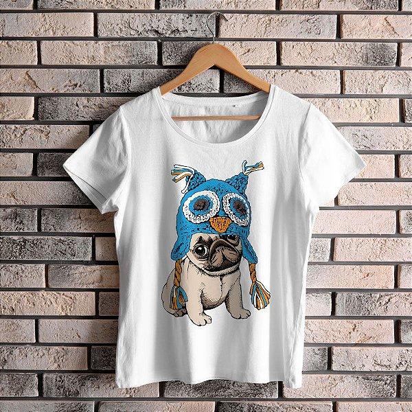 Camiseta Baby Look Cachorro Pug Coruja