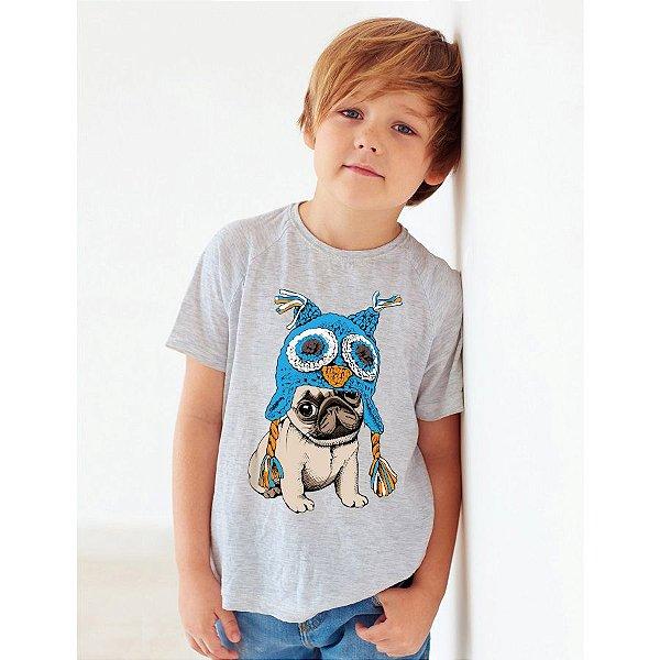 Camiseta Infantil Cachorro Pug Coruja