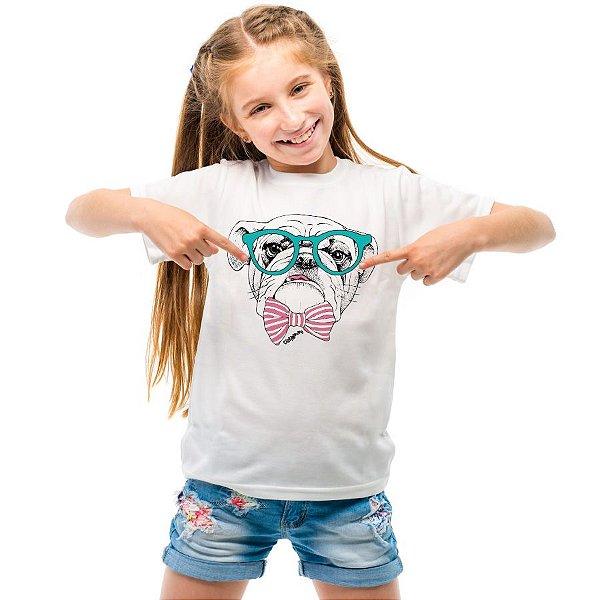 Camiseta Infantil Bulldog Inglês de Óculos e Gravatinha