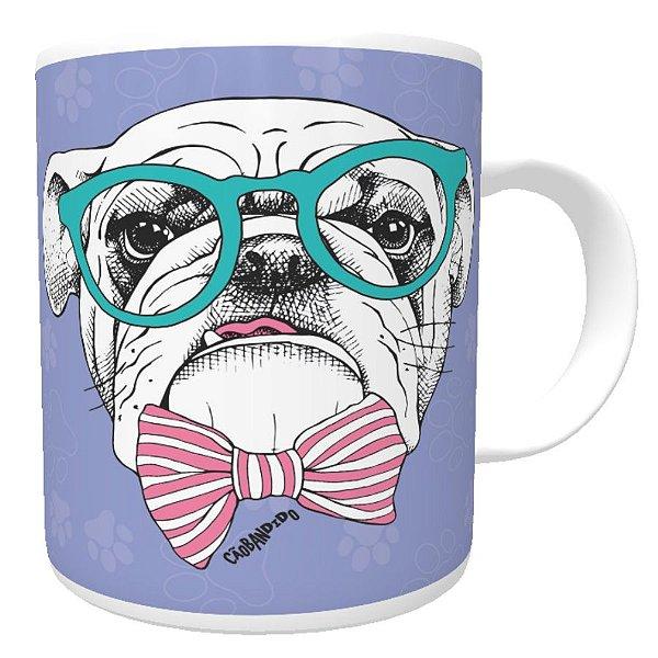 Caneca Bulldog Inglês de Óculos e Gravatinha