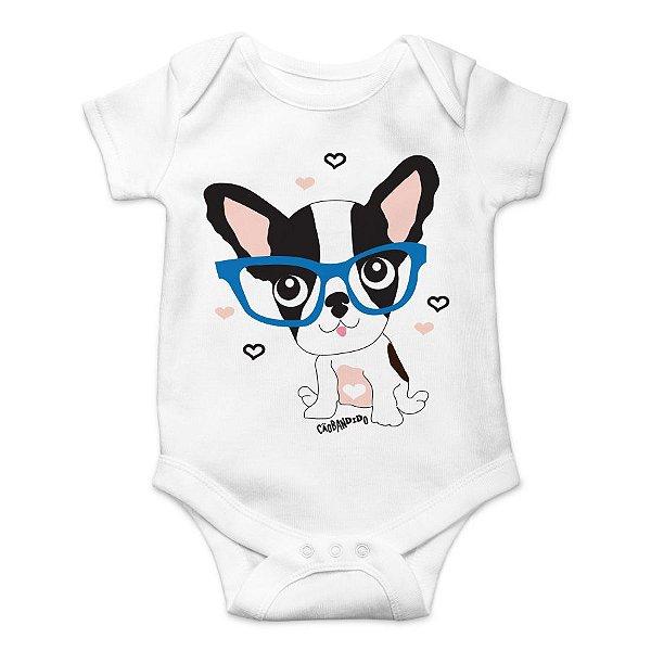 Body Bebê Bulldog Francês - Filhote de Óculos