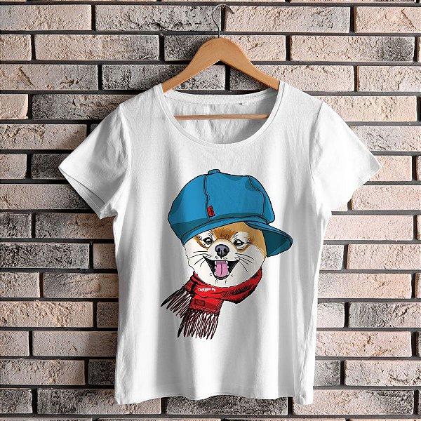 Camiseta Baby Look Spitz Alemão de Boina e Cachecol