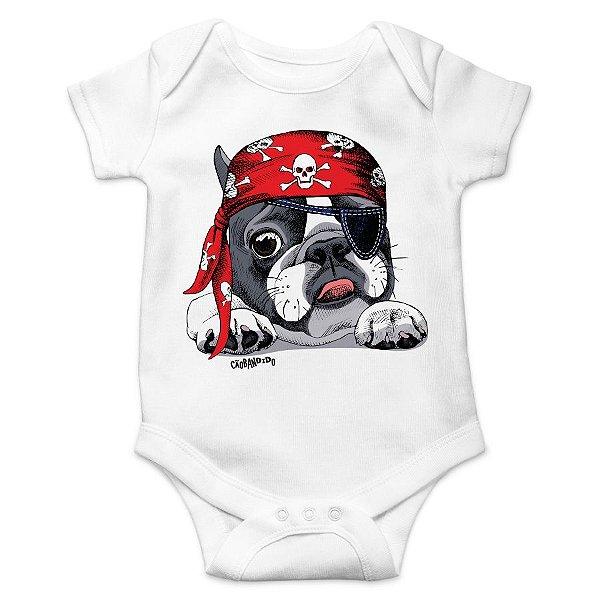 Body Bebê Bulldog Francês Pirata