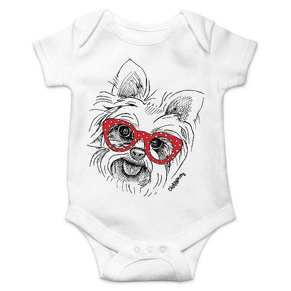 b8b58bb24 Body Bebê Yorkshire de Óculos - Cão Bandido - Camisetas de Cachorro ...