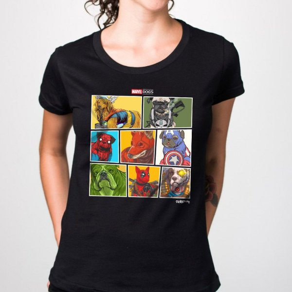 Camiseta Baby Look Marvel Dogs Super Heróis
