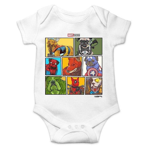 Body Bebê Marvel Dogs Super Heróis - Branco