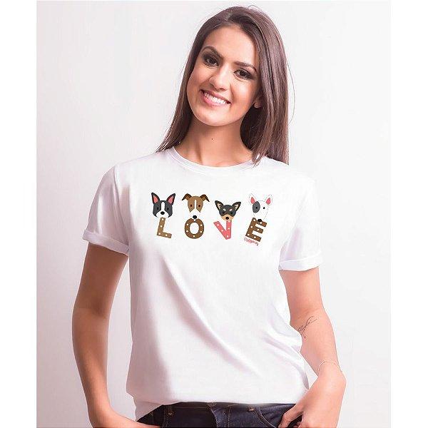Camiseta Baby Look Cachorro Love
