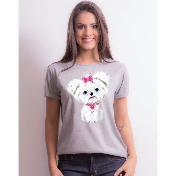 Camiseta Baby Look Maltês de Lacinho