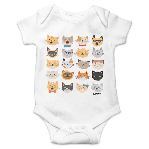 Body Bebê Cats Emoticons - Branco