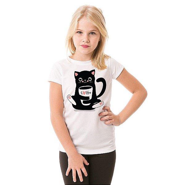 Camiseta Infantil Gato Preto Café