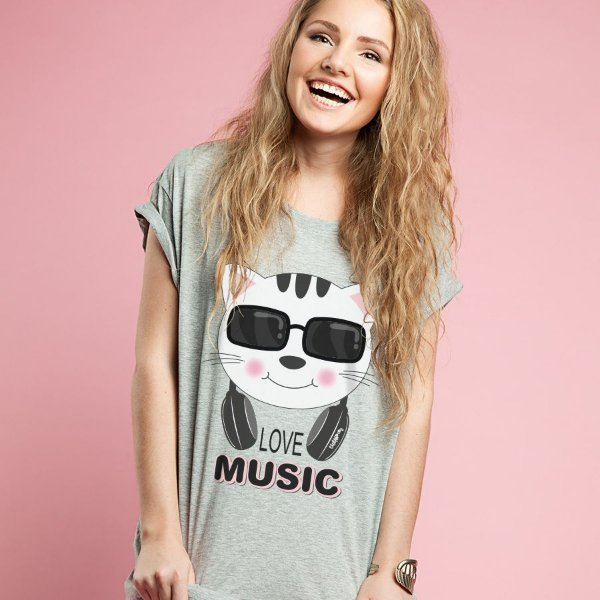 Camiseta Baby Look Gato Love Music