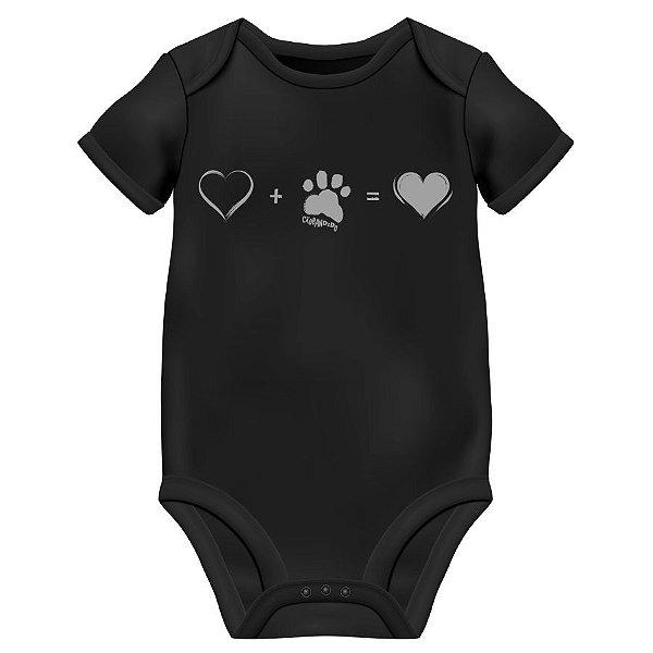 Body Bebê Cachorro Amor Completo - Preto