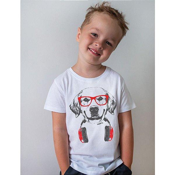 Camiseta Infantil Golden Retriever de Óculos e Fone de Ouvidos