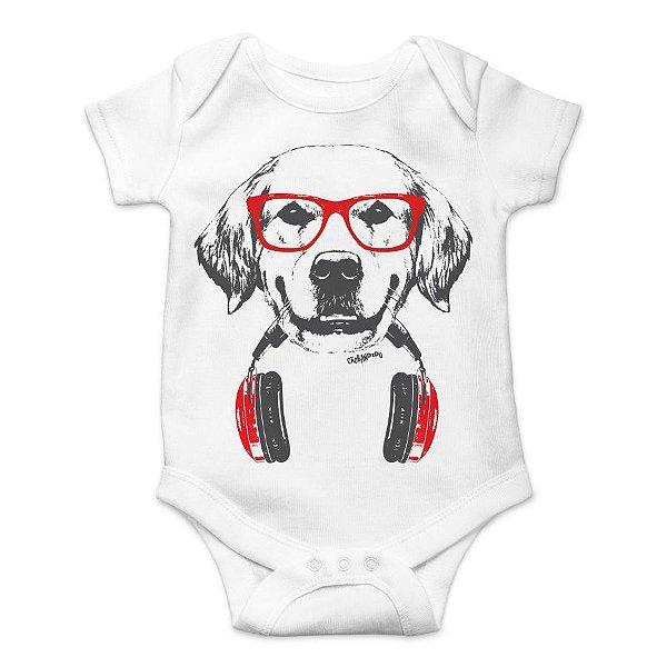 Body Bebê Golden Retriever de Óculos e Fone de Ouvidos