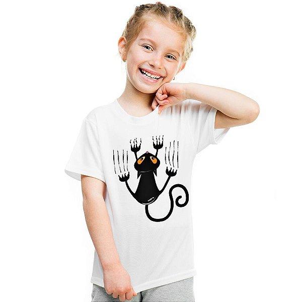 Camiseta Infantil Gato Preto Arranhando
