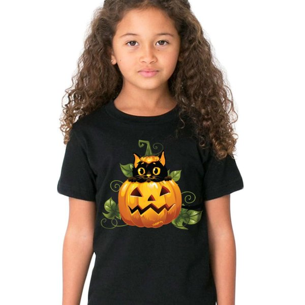 Camiseta Infantil Gato Preto Halloween
