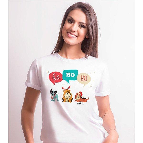 Camiseta Baby Look Cachorro Natal Ho Ho Ho