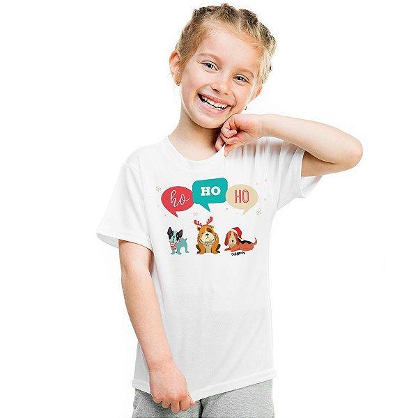 Camiseta Infantil Cachorro Natal Ho Ho Ho