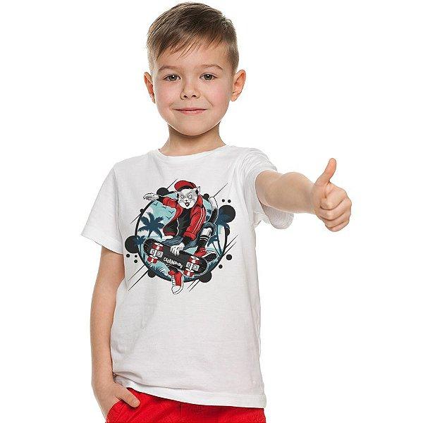Camiseta Infantil Gato Skatista