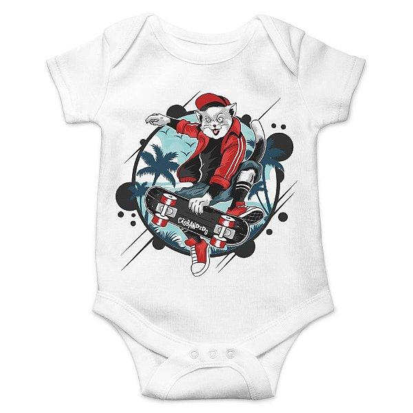 Body Bebê Gato Skatista
