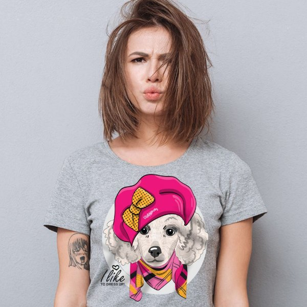 Camiseta Baby Look Poodle Fêmea I Like To Dress Up