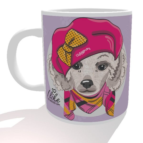 Caneca Poodle Fêmea I Like To Dress Up