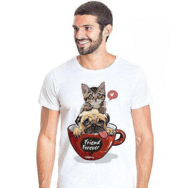 Camiseta Gato e Cachorro - Friend Forever