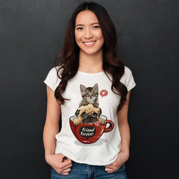 Camiseta Baby Look Gato e Cachorro - Friend Forever