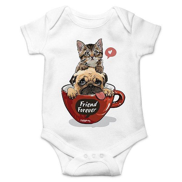 Body Bebê Gato e Cachorro - Friend Forever - Branco