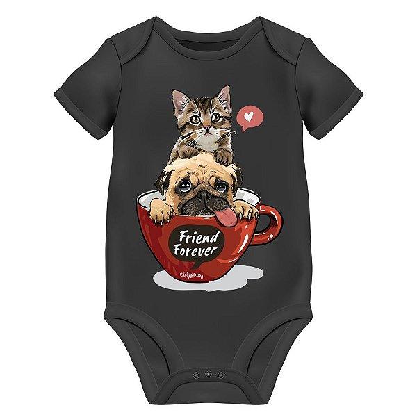 Body Bebê Gato e Cachorro - Friend Forever - Preto
