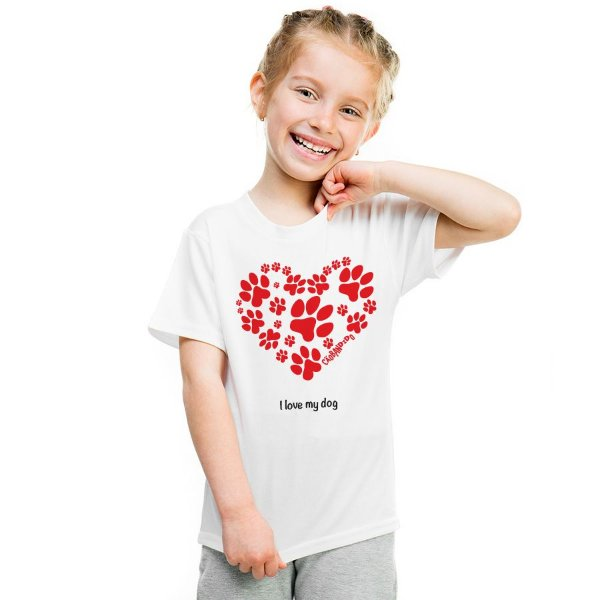 Camiseta Infantil Cachorro I Love My Dog