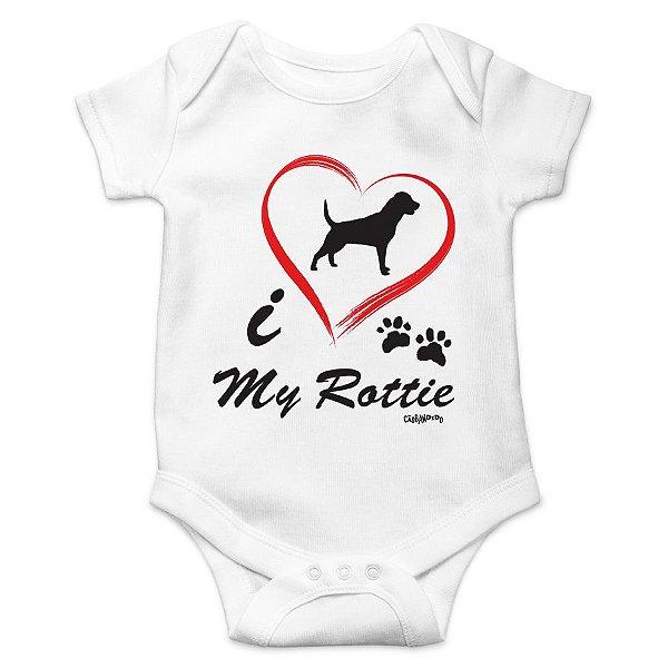 Body Bebê Rottweiler I Love My Rottie - Branco