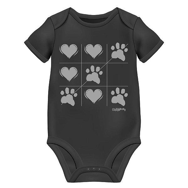 Body Bebê Cachorro Jogo da Velha - Preto