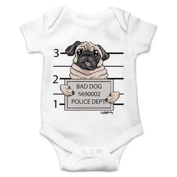Body Bebê Pug Bad Dog - Branco