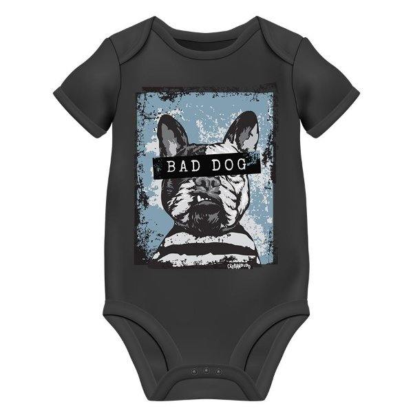 Body Bebê Bad Dog - Preto