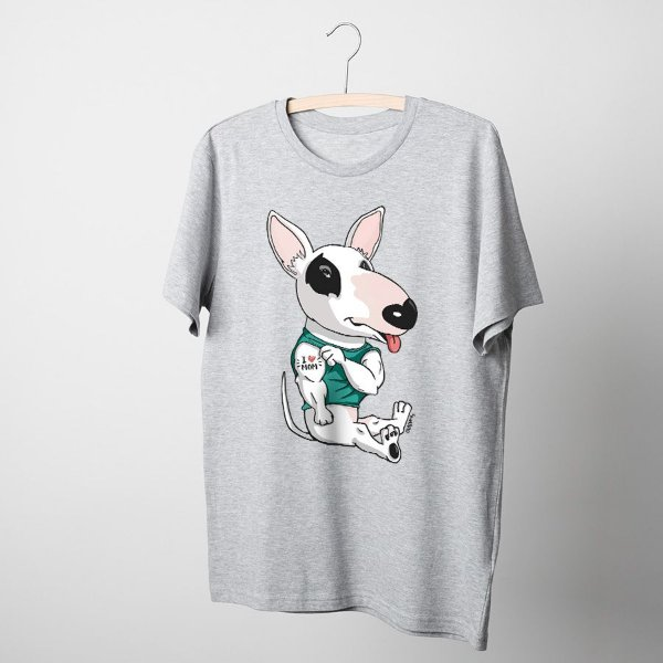 Camiseta Básica Bull Terrier I Love Mom