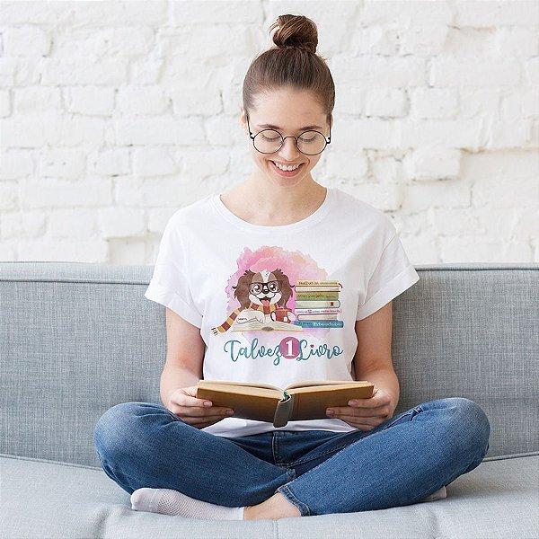 Camiseta Baby Look Talvez 1 Livro - Books and Dogs