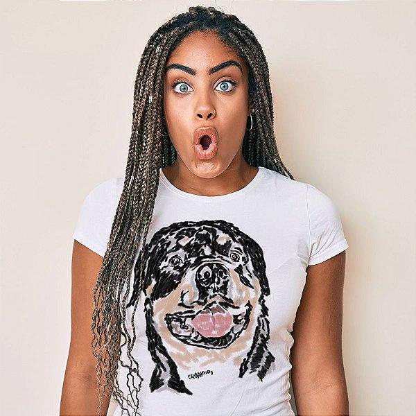 Camiseta Baby Look Rottweiler Pintura Digital