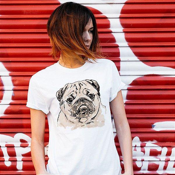 Camiseta Baby Look Pug Pintura Digital