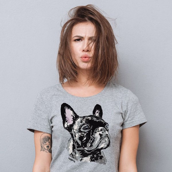 Camiseta Baby Look Bulldog Francês Pintura Digital