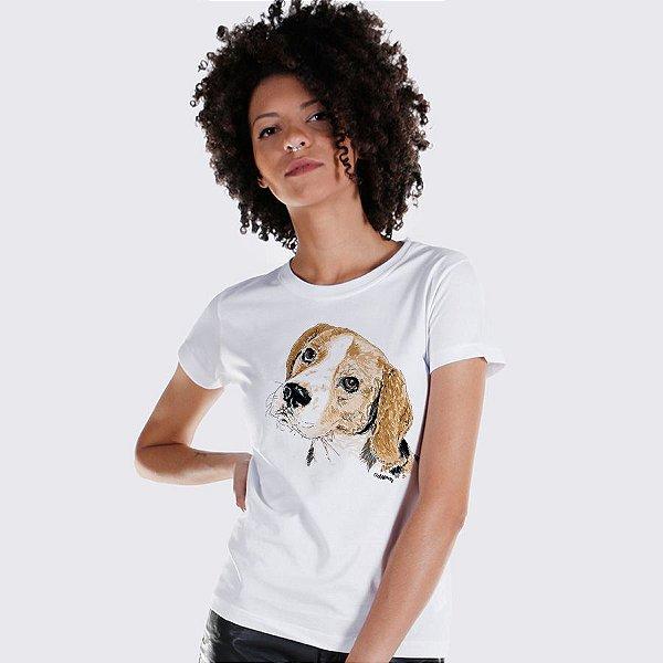 Camiseta Baby Look Beagle Pintura Digital