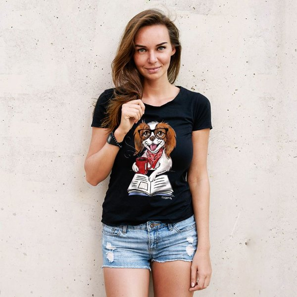 Camiseta Baby Look Cachorro, Café e Talvez 1 Livro - Books and Dogs