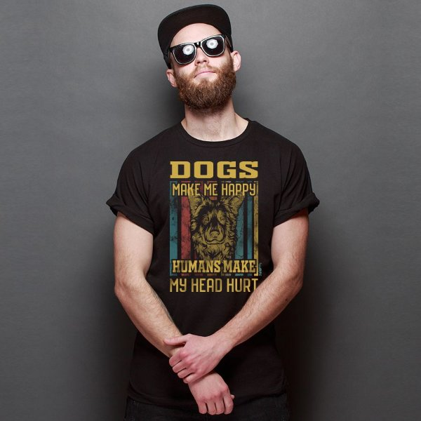 Camiseta Dogs Make Me Happy, Humans Make My Head Hurt